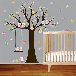 Autocollant Chambre Bébé : vinyle mur autocollant stickers hibou arbre avec balan oire oiseaux p pini re filles b b ~ Melissatoandfro.com Idées de Décoration