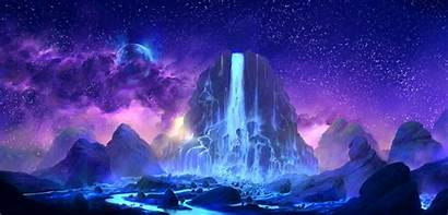 Fantasy Space Planet Sky Colorful Waterfall Digital