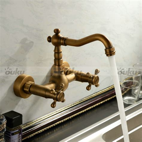 antique kitchen sink faucets antique inspired kitchen faucet wall mount antique brass