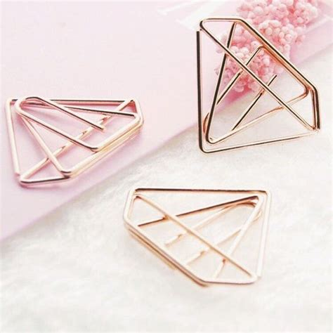 5 rose gold diamond shaped paper clips rose gold