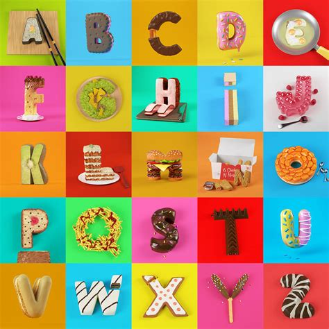 Appetizing 3d Food Alphabet  Fubiz Media. Baseball Catcher Decals. Darth Vader Stickers. Courageous Signs. Energy Logo Logo. Suffer Signs. Basketball Decals. Mac Book Pro Decals. Purchase Flags