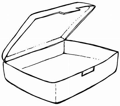 Lunch Box Clip Clipart Open Suitcase Coloring