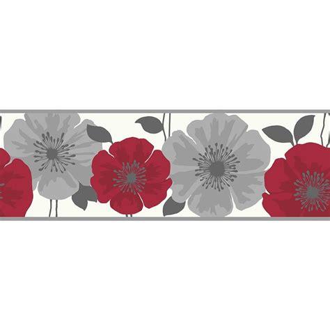 wallpaper borders buy fine decor poppie wallpaper border red white silver