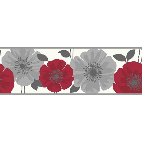Buy Fine Decor Poppie Wallpaper Border Red / White / Silver