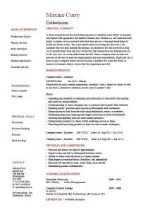 Exles Of Esthetician Resumes by Doc 634850 Esthetician Resume Exles New Graduate