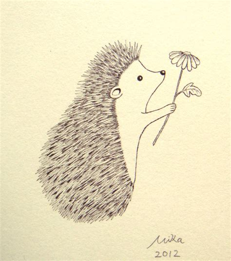 hedgehog illustration print ink drawing print black white