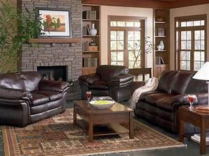 Brown leather couch living room ideas get furnitures for for Leather living room ideas