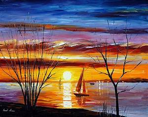 SUNRISE BY THE LAKE — PALETTE KNIFE Oil Painting On Canvas ...