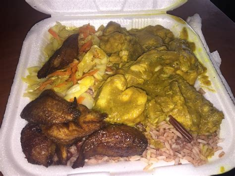cuisine trop curry chicken lunch curry chicken rice and peas fried