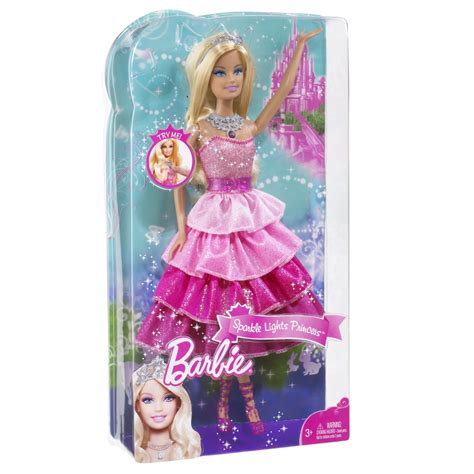 barbie sparkle lights princess pink doll toy  mattel