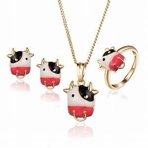 parure de bijoux enfant fille vache rigolote dore a l39or With parure bijoux fille