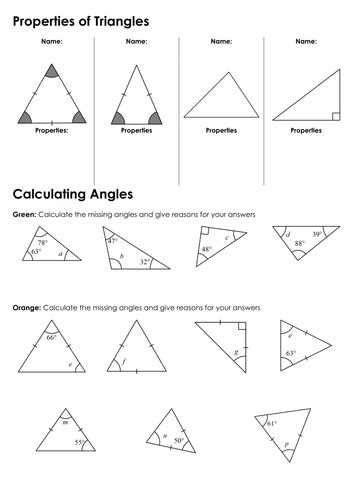 Sum Of Interior Angles A Triangle Worksheet Pdf Brokeasshomecom