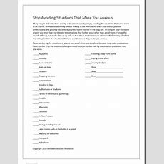 Between Sessions Anxiety Worksheets For Adults  Group Therapy Worksheets For Adults Therapy