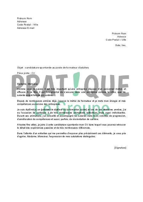 lettre de candidature spontanée pour un emploi de formateur pour adultes pratique fr