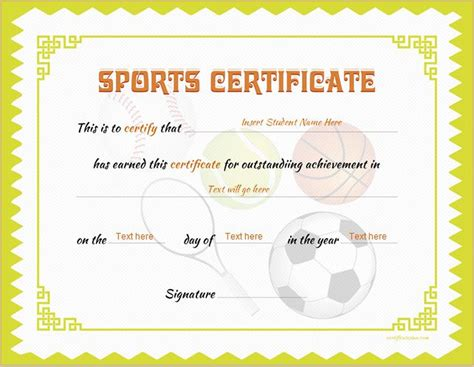 sports certificate templates  ms word professional