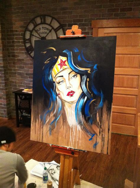 Painting Wonder Woman At The Drunken Easel  Space Art By