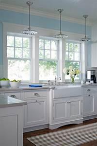 Triple Hung Windows Kitchen Farmhouse With Mounted Pot Racks