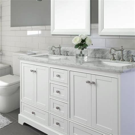 White Bathroom Vanity With Marble Top by Birch 72 Quot Bath Vanity Set With Italian Carrara White