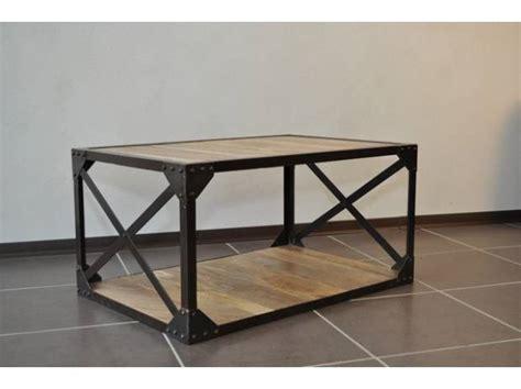 table basse bois et metal pas cher table basse bois massif et m 233 tal industrielle valence 26000 meubles pas cher d occasion