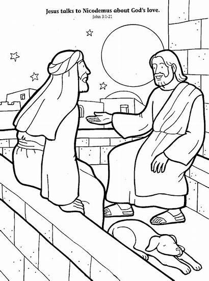 Nicodemus Jesus Coloring Clipart Bible Sunday Christ