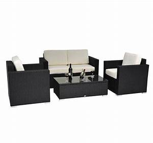 4 piece outdoor wicker sofa patio set black pe rattan With 4 piece sectional wicker sofa set