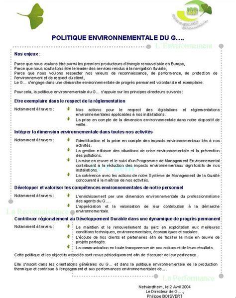 chambre du commerce exemple charte politique environnementale formation à la