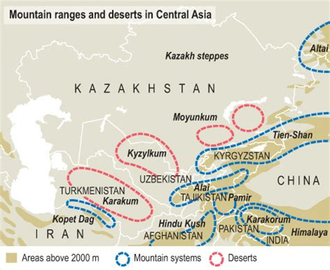 mountain ranges and deserts in central asia a map showing flickr