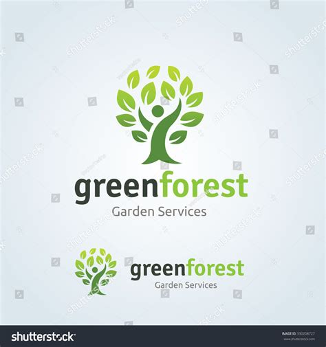 Green Forest Logopeople Tree Logovector Logo Stock Vector