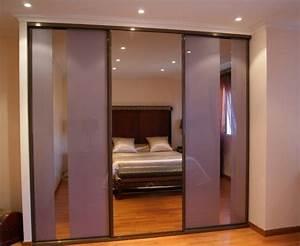Porte Coulissante Miroir : portes coulissantes en verre laqu et miroir bronze la ~ Carolinahurricanesstore.com Idées de Décoration