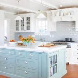 blue kitchen island bhg centsational style