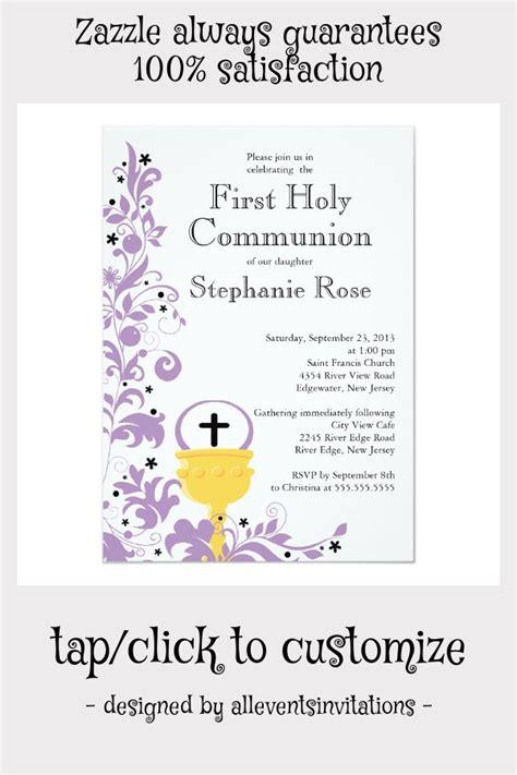 Modern Purple Floral First Holy Communion Invitation