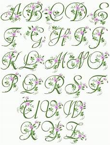 elegant floral initials machine embroidery font 4quotx4 With floral monogram letter