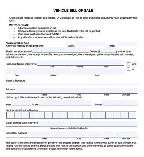 vehicle bill of sale template fillable pdf 14 sle vehicle bill of sales pdf word sle templates