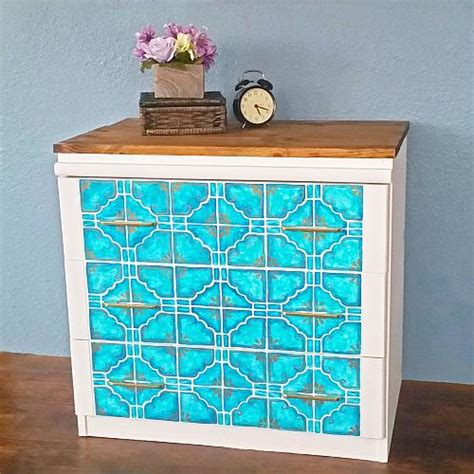custom painted tile dresser upcycle project  decoart
