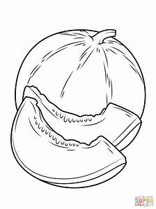 Cantaloupe clipart black and white - Pencil and in color ...