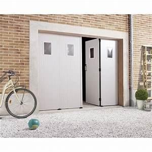 Porte De Garage Pliante À La Française 4 Vantaux : porte de garage la fran aise avec hublot primo x cm leroy merlin ~ Nature-et-papiers.com Idées de Décoration