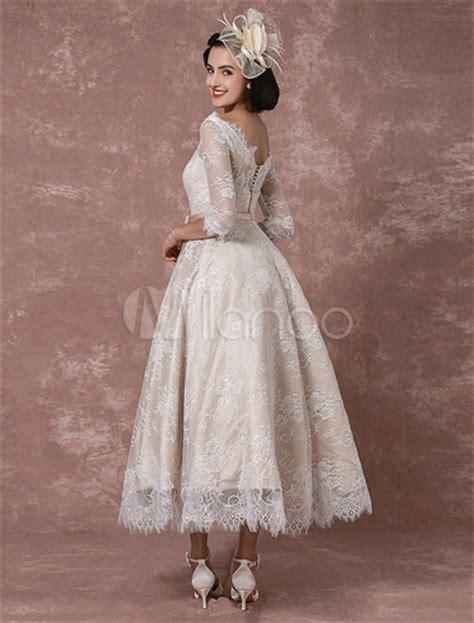 Lace Wedding Dress Vintage Bateau Champagne Half Sleeves