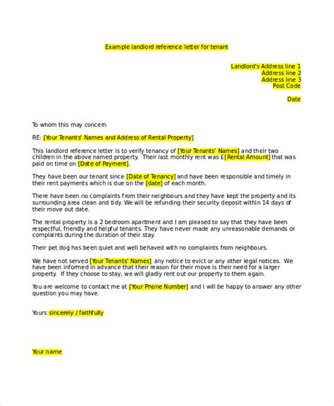 tenant recommendation letter 16 landlord reference letter template free sle 29047