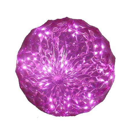 pink led lighted hanging christmas crystal sphere ball