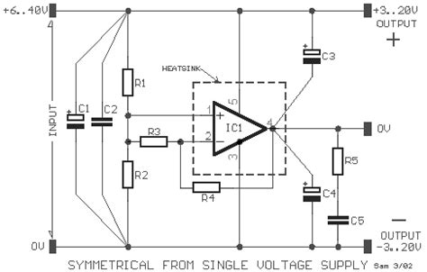 Symmetrical From Single Voltage Supply Circuit Diagram