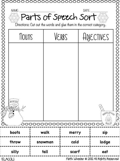 Parts of Speech Worksheets 3rd Grade
