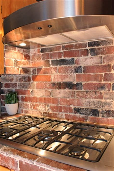 brick tile backsplash kitchen refresheddesigns green idea diy kitchen backsplashes