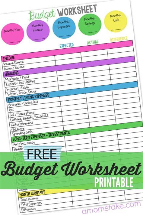 family budget worksheet  moms