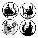 Spinning Silhouette Silhouettes Wheels Die Wheel Magnets Medallions Pinback Backed Buttons Flat Inch Similar Items Pottery Cuts Etsy Coloring Painting sketch template