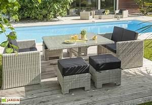 Salon Jardin 2 Places : salon de jardin lunch table 2 canap s 2 places 4 poufs givex ~ Melissatoandfro.com Idées de Décoration