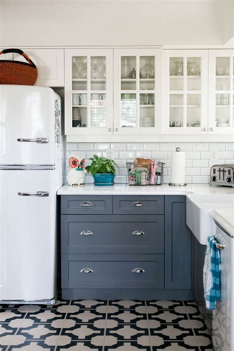 floor and decor white subway tile kitchen with white cabinets gray cabinets patterned tile