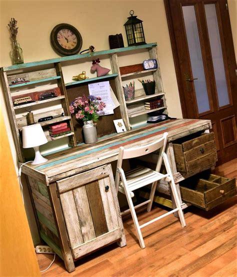 make a desk out of bookshelves antique pallets wood desk with shelves