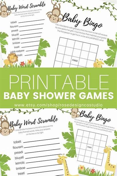 Shower Safari Theme Games Printable Printables Word