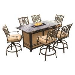 traditions 7pc high dining bar set with 30 000 btu pit bar table hanover target