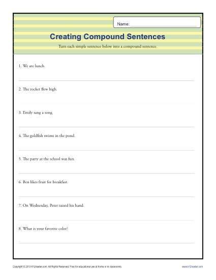 compund sentence worksheet 1st through 3rd grade